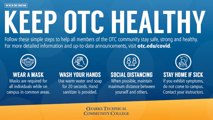 Keep OTC Healthy. Wear a mask. Wash your hands. Practice Social Distancing. Stay home if you're sick.